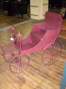 Unique Metal Flower Cart Stand Wagon Distressed London Ontario image 2