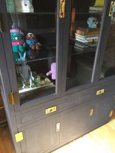 Large Black Glass Display China Cabinet! London Ontario image 2