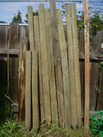 Selection of 6 ft.  3 -5 inch Treated fence posts..pointed.