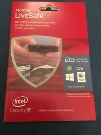 McAfee Live Safe (Brand New) 1 Year Subscription