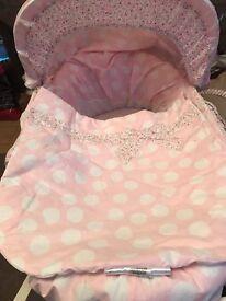Mamas and papas pink Moses basket stand and bedding