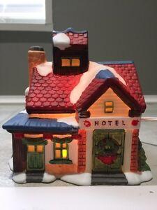 Ceramic Hotel for Christmas village set