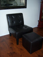 Espresso / Black Leather Chair with Ottoman