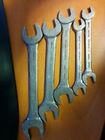 5 piece Gray tools metric open end wrench set