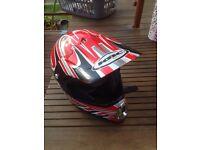 Motor cycle helmet boys size large KBC red