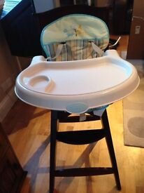 Wooden highchair with plastic tray