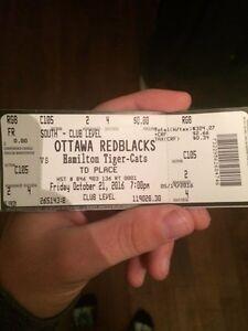 2 tickets to red blacks vs tiger cats October 21