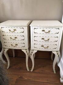Vintage Louis style 3 drawer Bedside Cabinets