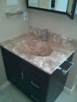 Bathroom vanity with sink, medicine cabinet, additional cabinet