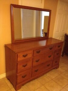 Long Maple Dresser & Mirror (VILAS)