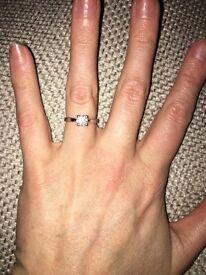 0.75 carat solitaire diamond, size K 18k white gold engagement ring.