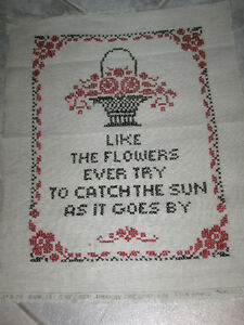 BEAUTIFUL OLD 50's HAND-CRAFTED PIECE of NEEDLEWORK for FRAMING