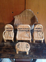 Vintage Rare Mini WICKER/RATTAN 4-Piece Front-Porch DOLL OUTDOOR