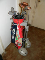 Full Set Of Right Handed Golf Clubs With Bag And Pull Cart