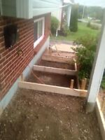 Cement work, steps, walks, foundations, slabs