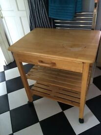 Solid wood mobile kitchen island