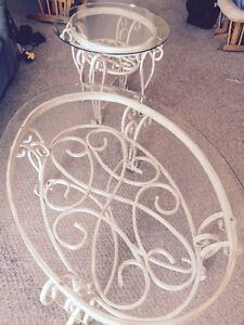 Glass top coffee table and matching end table set PRICE LOWERED