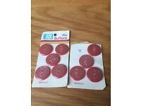 Set of nine pink buttons *new*