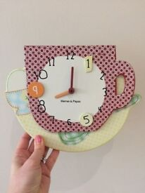 Wall clock (ceramic) and matching decor - Mamas & Papas