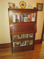 Vintage combination sectional bookcase and drop front desk