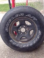 1 dueller a/t truck tire on 6 bolt Ford truck rim