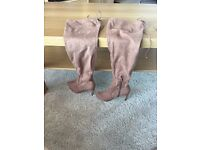 Tan over the knee tie back boots