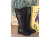 Fly London knee high boots - size 7 - BLACK