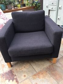 In excellent condition, karlstad ikea armchair with dark grey, pure wool cover.