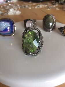 Vintage ring Green Quartz Marcasites Sterling 925