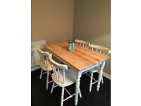 Solid Pine farmhouse Dining table & 4 chairs