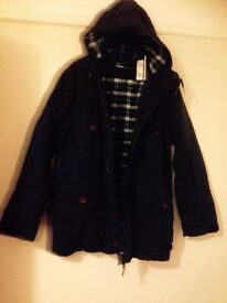 Fred Perry XL Mountain Parker , New ,Navy Wadded for warmth New