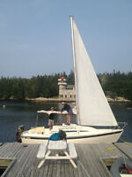 21 foot giber-glass sloop day cruiser with lg. birth