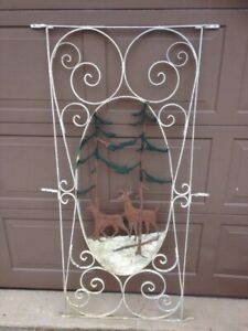 Vintage antique aluminum screen door insert White Tail Deer