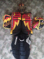 "31"" TPS Goalie pads+blocker + trapper+ helm+ chest protector"