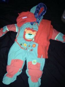 6-9 months snowsuit with hat and scarf