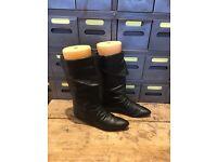 Black leather cool 80's flat boots retro salt & pepper high