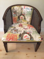 Reupholstered Cane Arm Chair