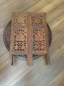 Anglo-Indian Carved Octagonal Rosewood Folding Side Table