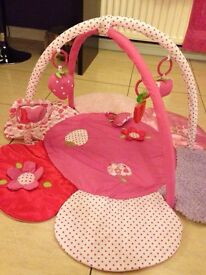 Beautiful pink flower baby play mat sensory soft baby gym girl