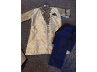 Boys blue and gold sherwani kurta and churidhaar pants
