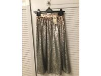 Stunning Silver/ Bronze Miss Selfidge Sequinned Skirt- Size 8