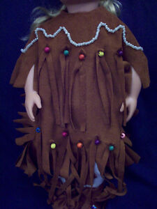 American Girl-sized Doll Clothes: Faux Suede Native Dress Windsor Region Ontario image 1