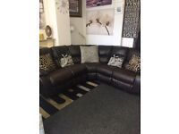 Quality Italian leather corner sofa with recliner at both sides £349 includes delivery