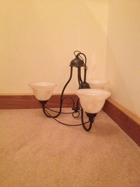 TWO BHS CEILING LIGHTS WITH THREE GLASS SHADES