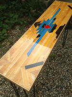 Reclaimed Old Gym Floor Aztec Pattern Hair Pin Console Table