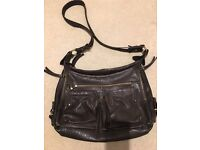 Fat Face chocolate brown leather messenger / cross body bag