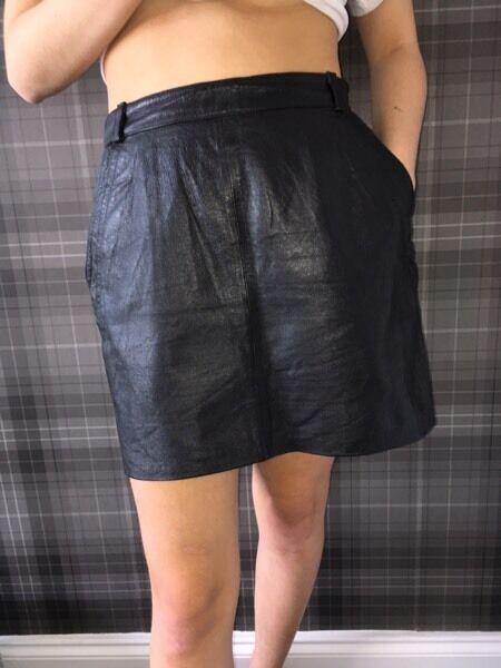 Real Black leather vintage skirt 29 inch waist