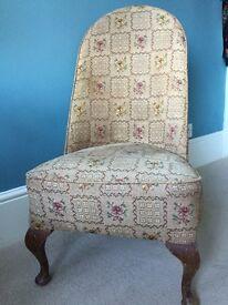 Low upholstered chair. Queen Ann legs