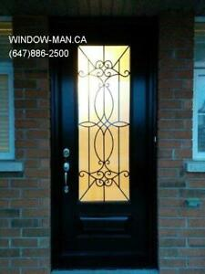 Front Glass Entry Entrance Iron Door  Energy saving