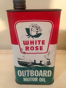 White rose outboard imperial quart motor oil tin can gas sign